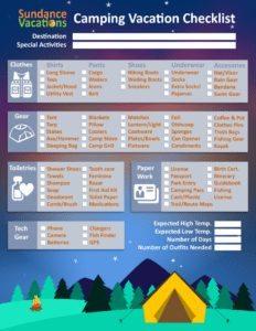 Camping Vacation Checklist Sundance Vacations