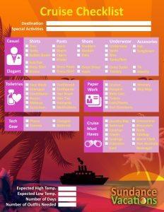 Cruise Vacation Checklist Sundance Vacations