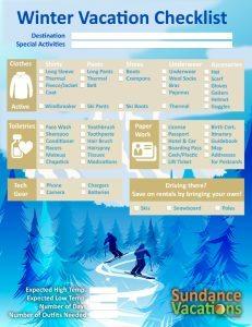 Winter Vacation Checklist Sundance Vacations